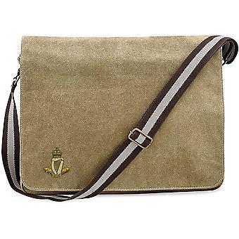 Royal Irish Regiment-licenciado exército britânico bordado vintage Canvas saco mensageiro Despatch