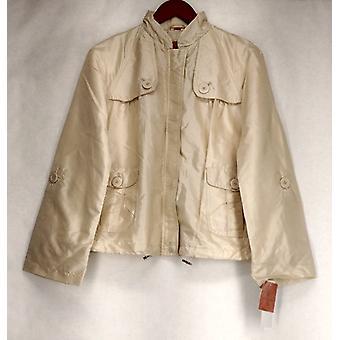 Judy Crowell Zip Front w/ Button Detail Sand Beige Jacket Womens A18695
