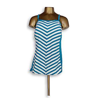 Denim & Co. Plus Strand Streifen Tankini Top mit blau A304228
