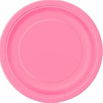 SALE -  8 Midi 'Hot Pink' Paper Plates | Party Tableware Supplies