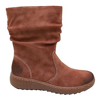 Rieker Tan 3 Quarter Boot With Crepe Sole