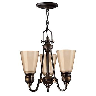 Mayflower Traditional 3 Arm Chandelier with Etched Amber Glass