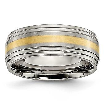 Titanium 14k gouden Inlay 8mm borstel/Pools Band - grootte 10.5