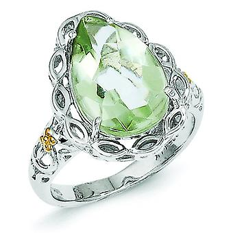 Sterling Silver With 14k Green Quartz Ring - Ring Size: 6 to 8