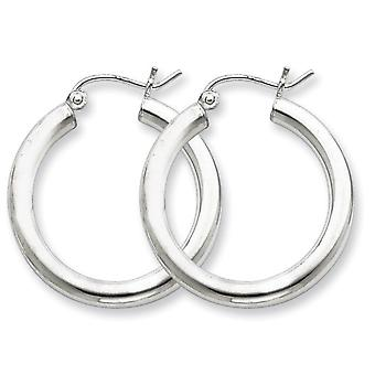 Sterling Silver Polished Hinged post Rhodium-plated 3mm Round Hoop Earrings - 2.5 Grams