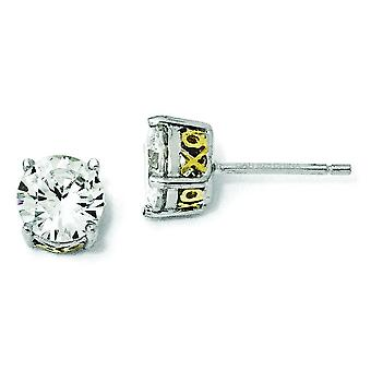 Sterling Silver and Gold-plated X and O 6.5mm CZ Stud Earrings