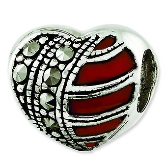 Sterling Silver Reflections Marcasite and Enameled Heart Bead Charm