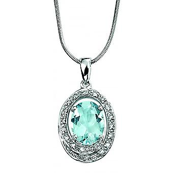 9CT ouro branco Aquamarine e colar de diamantes