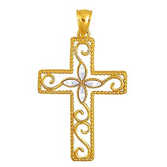14k 2 Tone Gold Diamond Cut And Milgrain Finish Cross Pendant
