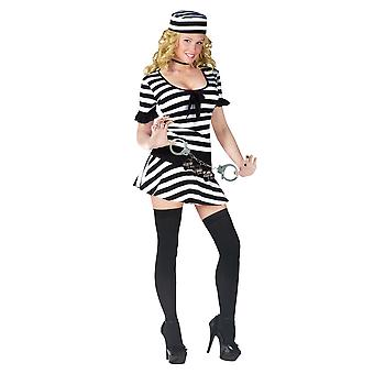 Fantasy Mug Shot Prisoner Convict Jailbird Jail Inmate Women Costume