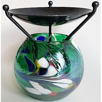 D & J Glassware Globe Melt Burner Emerald Green