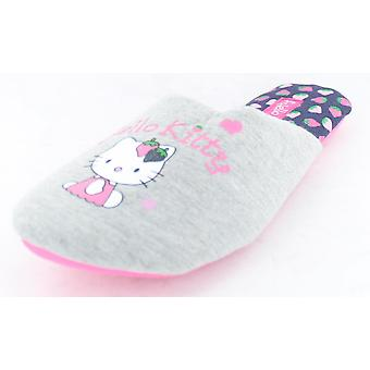 Girls Hello Kitty Mule Slippers Grey Textile 5-6