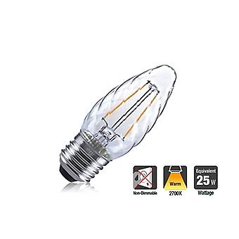 2R2/I1: : Twisted Candle 2W 250Lm E27 Filament Non-Dimmable 330� Beam Angle 2700K. ILCANDE27N047