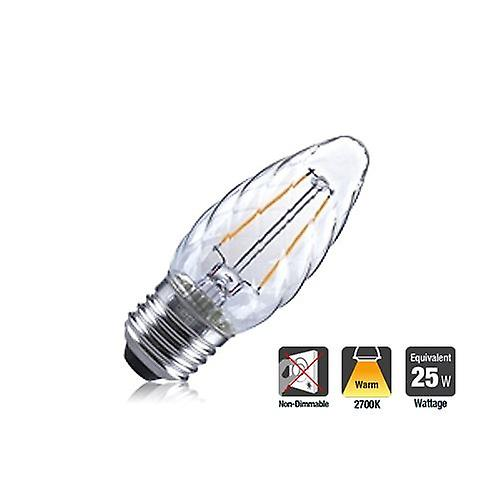 2R2/I1:AMZ: Twisted Candle 2W 250Lm E27 Filament Non-Dimmable 330� Beam Angle 2700K. ILCANDE27N047
