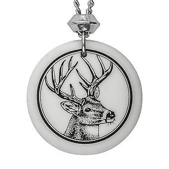 Handmade Whitetail Deer 2 Totem Round Shaped Porcelain Pendant