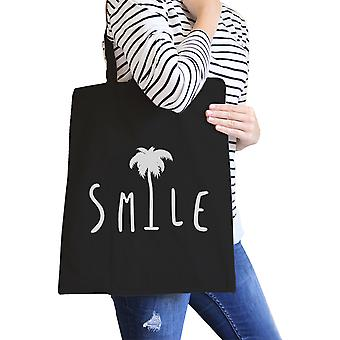 Smile Palm Tree Black Unique Graphic Cute Cotton Canvas Tote Bag