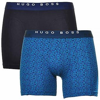 HUGO BOSS Cotton Stretch 2-Pack Cyclist Boxer Brief, Black / Blue Triangle Print , Large