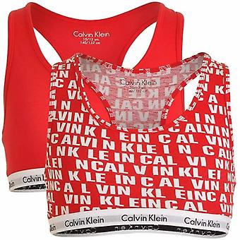Calvin Klein Girls 2 Pack Modern Cotton Bralette, Princess Red All Over Logo / Solid Red, X-Large