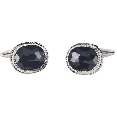 David Van Hagen Oval Onyx Cufflinks - Silver/Black