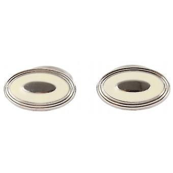 David Aster Oval Enamel Cufflinks - Ivory