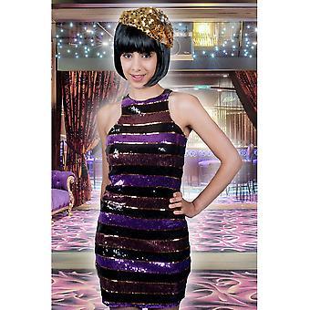 Las mujeres trajes mujeres discoteca lentejuelas vestido rayas locas
