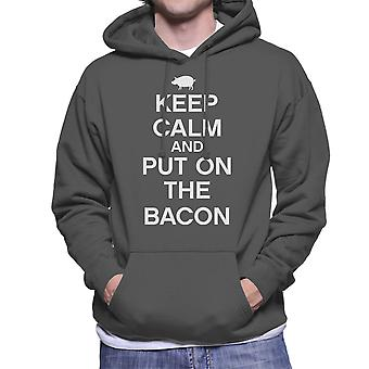 Keep Calm And Put On The Bacon White Men's Hooded Sweatshirt