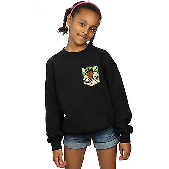 Looney Tunes Girls Wile E Coyote Face Faux Pocket Sweatshirt