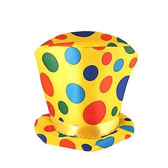 Adult Spotted Polka Dot Yellow Clown Top Hat