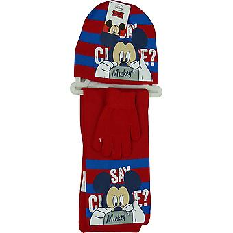 Disney Mickey Mouse Boys Winter 3 Piece set Hat, Gloves & Scarf