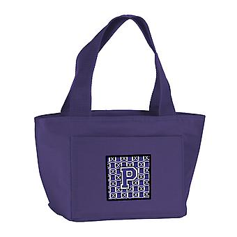 Letter P Football Purple and White Lunch Bag