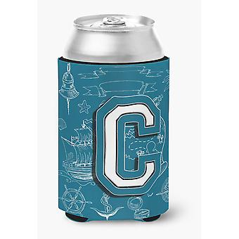 Letter C Sea Doodles Initial Alphabet Can or Bottle Hugger