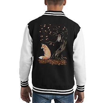 Animals Winds Of Autumn Fox And Owl Kid's Varsity Jacket