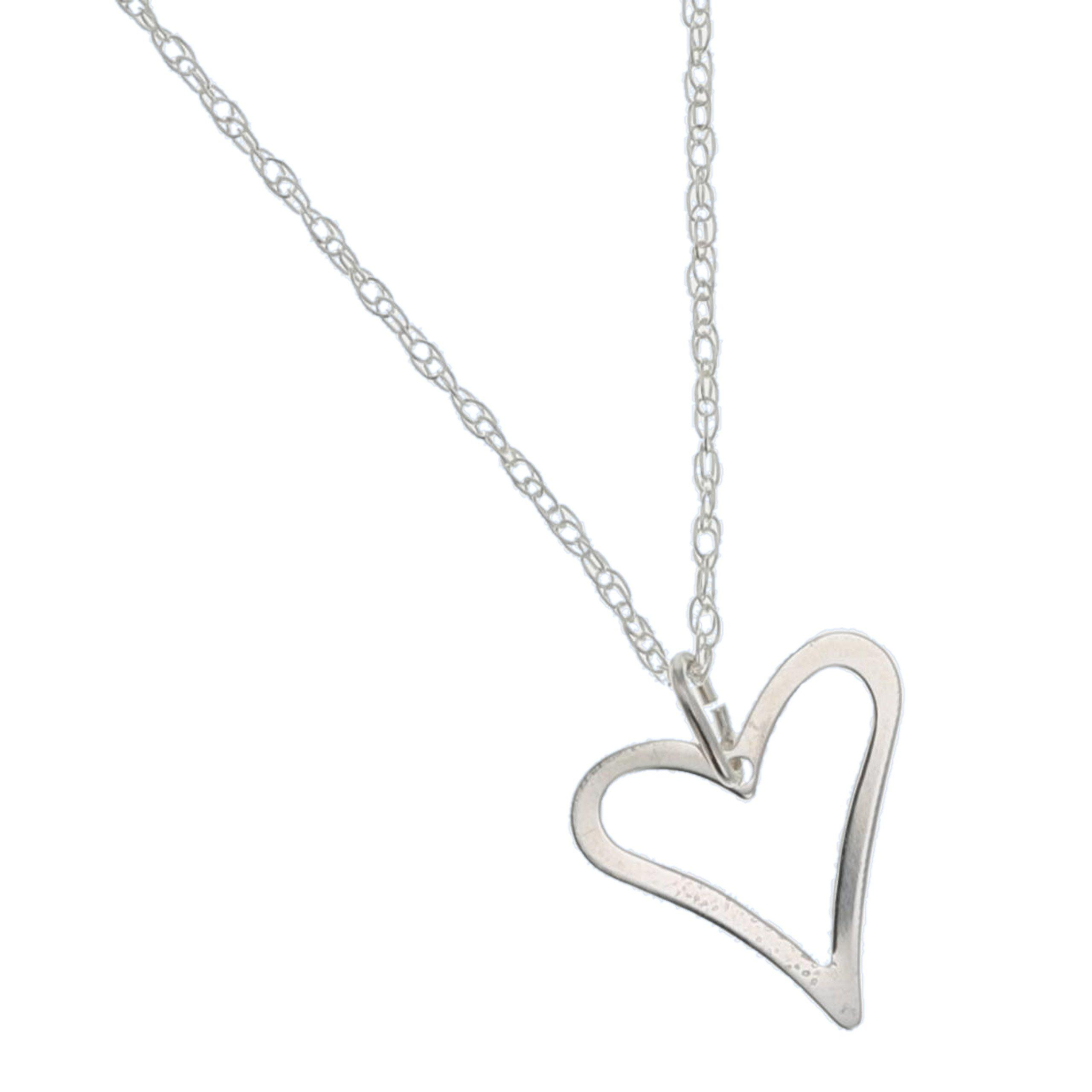 The Olivia Collection Sterling Silver Open Heart Pendant on 16 Inch Chain