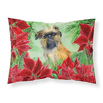 Brussels Griffon Poinsettas Fabric Standard Pillowcase