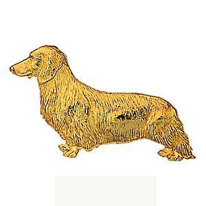 9ct guld 11x39mm långhåriga Daschund Brosch