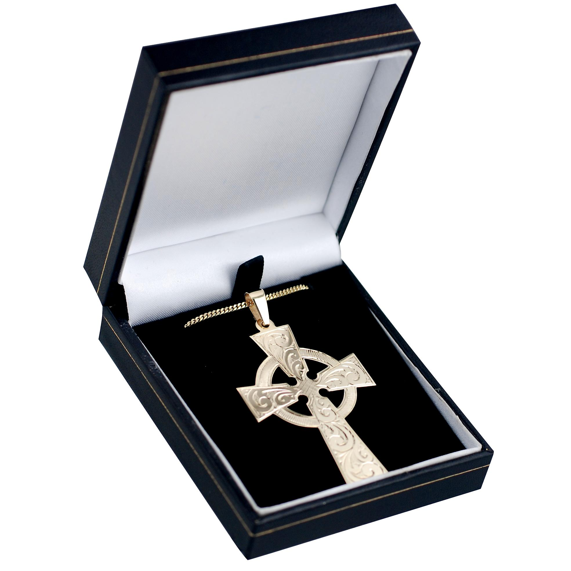 9ct Gold 55x36mm engraved Celtic Cross with curb chain