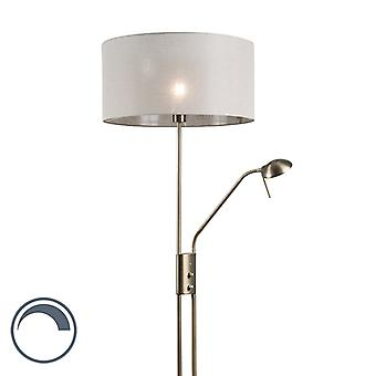 QAZQA Floor Lamp Luxor Bronze with Taupe Cylinder Shade