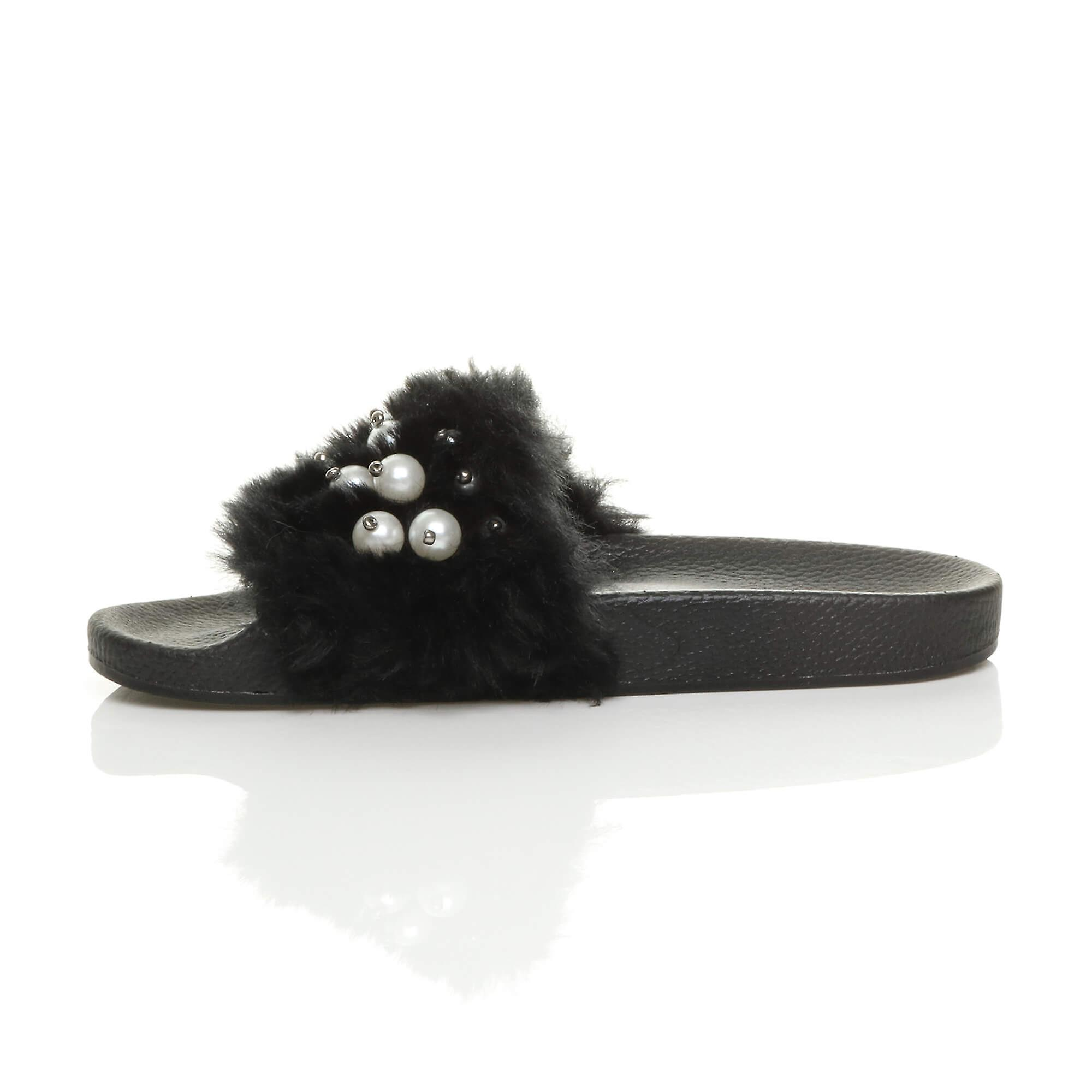 comfort slippers Ajvani open flop flip flat toe womens fur on slip sliders mules sandals comfy rwqC0wFSO