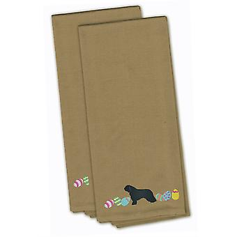 Spanish Water Dog Easter Tan Embroidered Kitchen Towel Set of 2