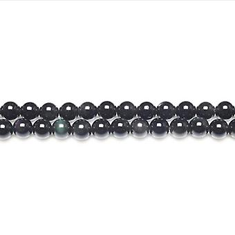 Chapelet de 62 + Black/Dark Rainbow vert obsidienne 6mm perles rondes lisses GS11056-1