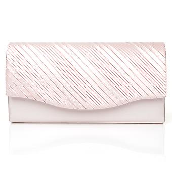 DINKY Baby Pink Satin Small Size Pleated Fold Over Clutch Bag
