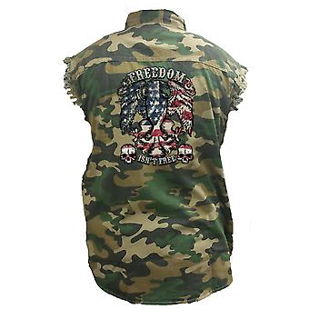 Men's Camo Sleeveless Denim Shirt USA Flag Freedom Isin't Free Denim Vest