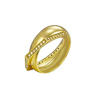 Joop women's ring Silver Gold cubic zirconia edged JPRG90779B
