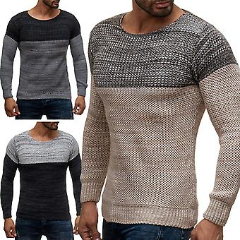 Herren Langarm Sweat Shirt Pullover Longsleeve Strick Herbst Winter Two Tone