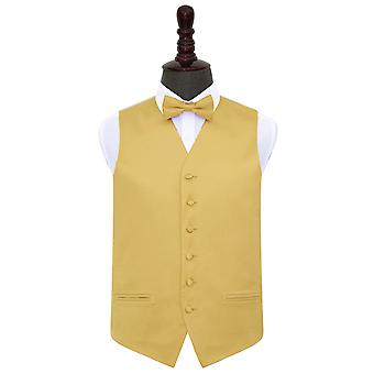 Gold Plain Satin Wedding Waistcoat & Bow Tie Set
