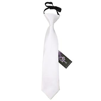 White Plain Satin Elasticated Tie for Boys