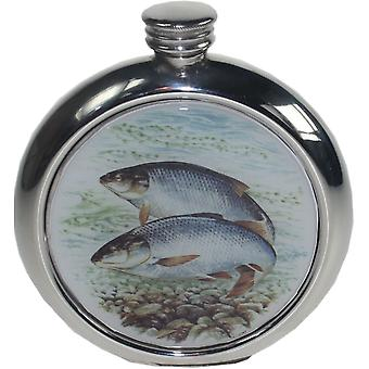 6Oz Round Roach Pewter Picture Flask
