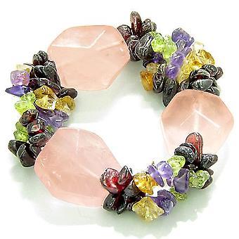 Amulet Large Faceted Rose Quartz Crystals Garnet Peridot Citrine Amethyst Love Good Luck Bracelet