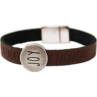 Gemshine Damen Armband Joy Happy WISHES Braun Dunkel Magnetverschluss
