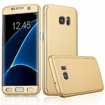 Full cover 360 case mobile protection cover with screen protector film for Samsung Galaxy S7 edge in gold all around protection case cell phone cover case